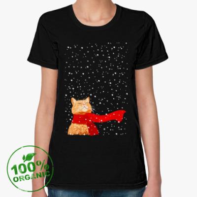 Женская футболка из органик-хлопка Новогодний котик в снегу