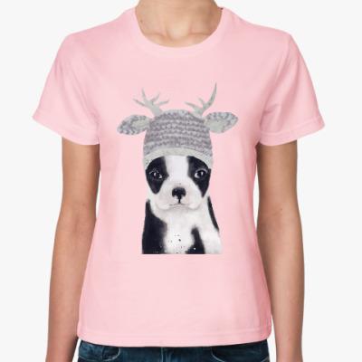 Женская футболка собака новогодняя