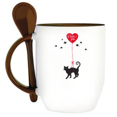Кружка с ложкой Кот и сердце