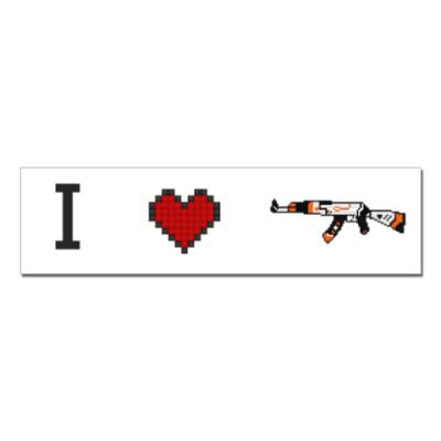 Наклейка (стикер)  I love Ak