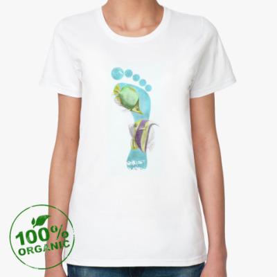 Женская футболка из органик-хлопка Footprints/След на песке