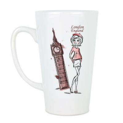 Чашка Латте Лондон,девушка