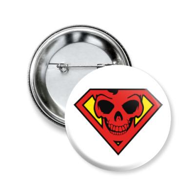 Значок 50мм Skull Superman