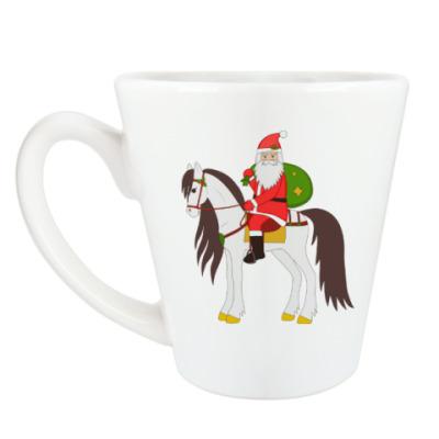 Чашка Латте Дед Мороз на лошади