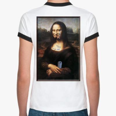Женская футболка Ringer-T Испорченная Мона Лиза Женск.