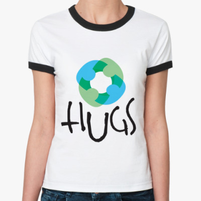 Женская футболка Ringer-T HUGS  (бел/чёрн)