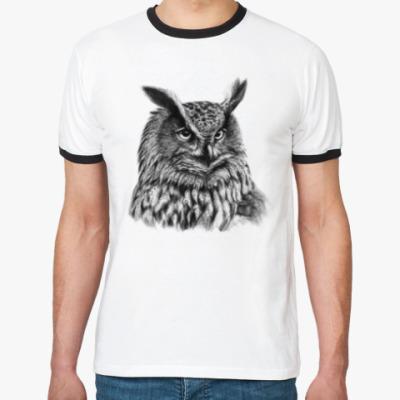 Футболка Ringer-T Совы. Совушки. Owl. Owls.