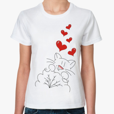 Классическая футболка  'Кот-лямур'