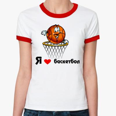 Женская футболка Ringer-T 'Я люблю баскетбол'