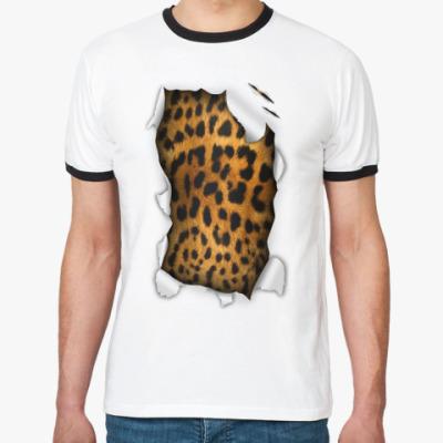 Футболка Ringer-T 'Леопард'