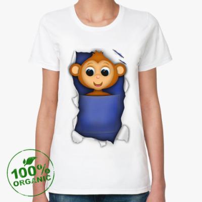Женская футболка из органик-хлопка Обезьянка
