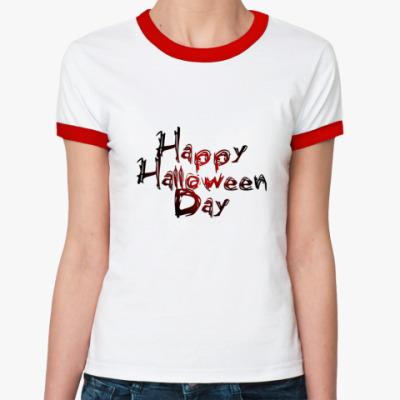 Женская футболка Ringer-T Happy Halloween Day