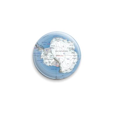 Значок 25мм  Карта Антарктиды