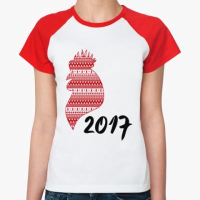 Женская футболка реглан Новогодний петух 2017