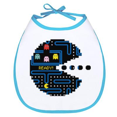 Слюнявчик Pac-Man. PacMan. ПакМан. ПакМен. Pixels. Ready!
