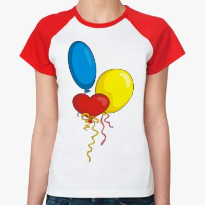 Женская футболка реглан Воздушные шарики