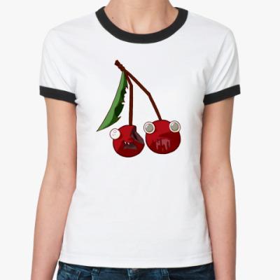 Женская футболка Ringer-T  Вишни-зомби