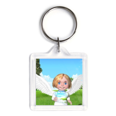 Брелок Веселый ангелочек девочка на природе