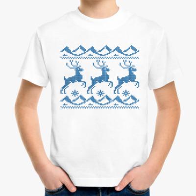 Детская футболка Вязаные узоры Олени