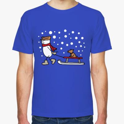 Футболка Снеговик и Собака в Новый год