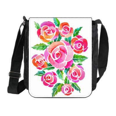 Сумка на плечо (мини-планшет) Акварельные розы