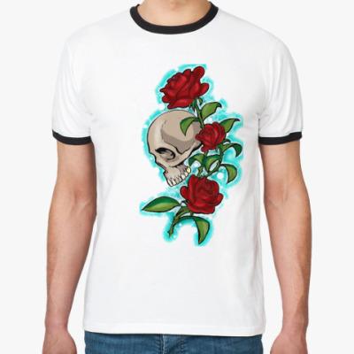 Футболка Ringer-T череп и розы