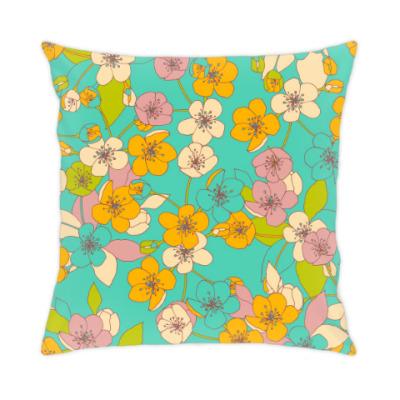 Подушка яркие цветаы