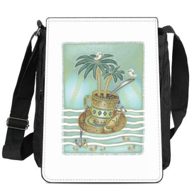Сумка-планшет Я - котик, качающийся на волнах.