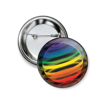 Значок 37мм   Разноцветный шар