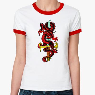 Женская футболка Ringer-T Дракон и меч