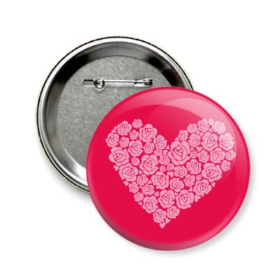 Значок 58мм 'Сердце из роз'