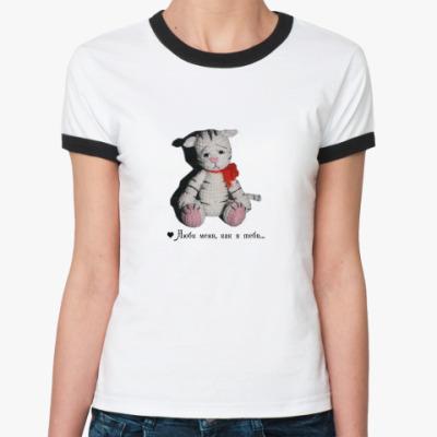 Женская футболка Ringer-T  'грустный тигренок'