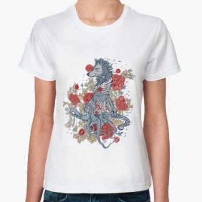 Классическая футболка Волк-девушка-осьминог