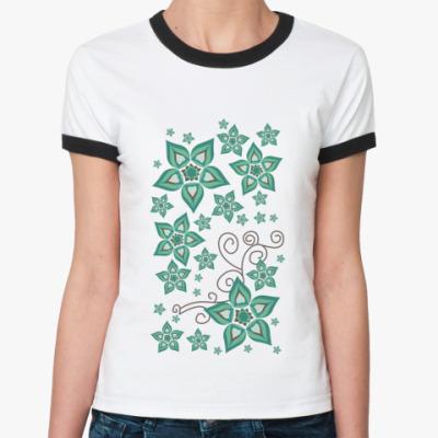 Женская футболка Ringer-T Цветочный орнамент