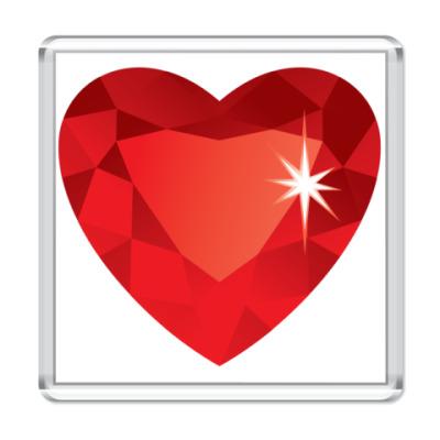 Магнит Сердце-Бриллиант