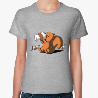 Женская футболка Squirrel & caffeine
