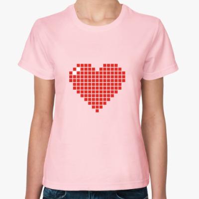 Женская футболка Пиксельное сердце