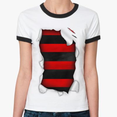 Женская футболка Ringer-T  'Фредди крюгер'