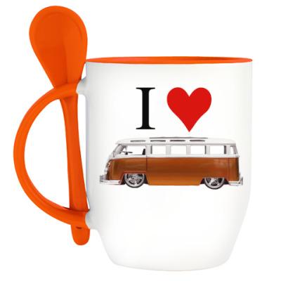 Кружка с ложкой I Love Bus