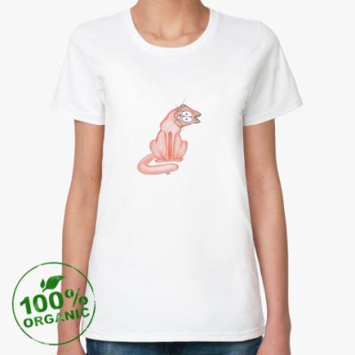 Женская футболка из органик-хлопка Котэ интересуется