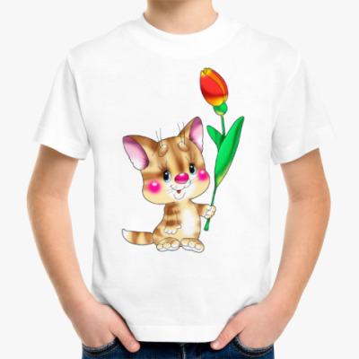 Детская футболка КОТ С ТЮЛЬПАНОМ