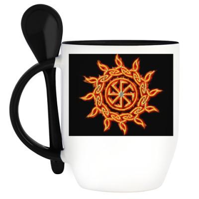Кружка с ложкой Славянские символы