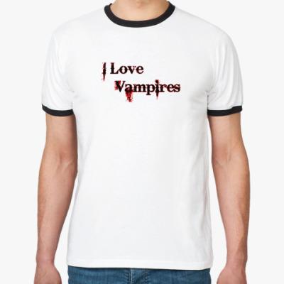 Футболка Ringer-T I love vampires