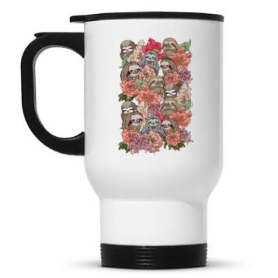 Кружка-термос Ленивцы в цветах