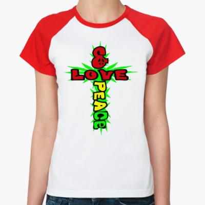 Женская футболка реглан love & peace