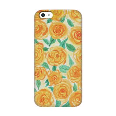 Чехол для iPhone 5c Цветочный принт 'желтые розы'