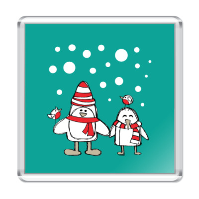 Магнит Пингвины и снегири в Новый год