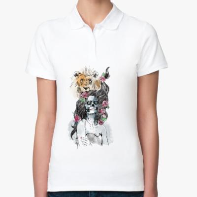 Женская рубашка поло Девушка-Лев-Череп
