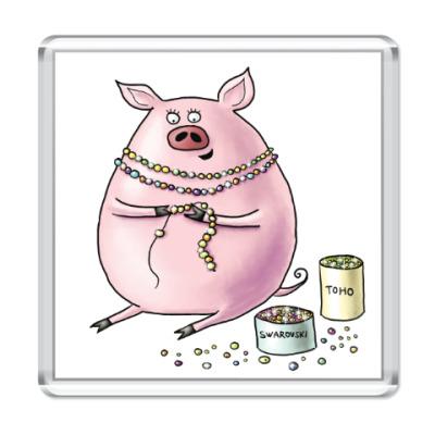 Магнит Свинья с бисером