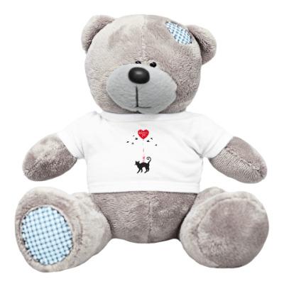 Плюшевый мишка Тедди Кот и сердце